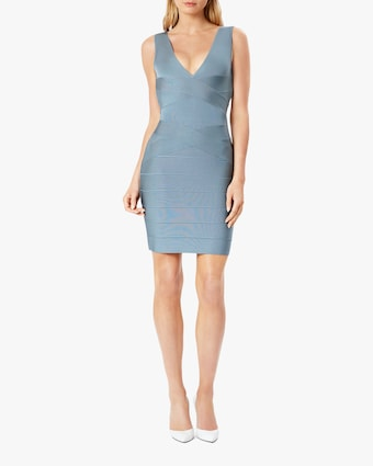 Herve Leger Cross-Front V Neck Mini Dress 1