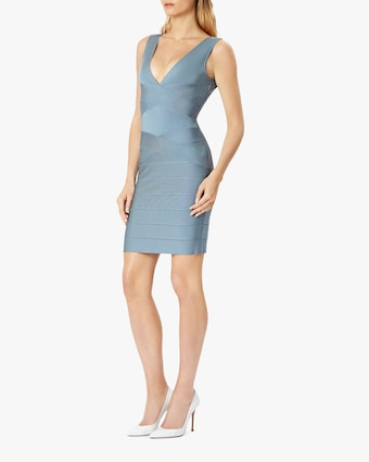 Herve Leger Cross-Front V Neck Mini Dress 2