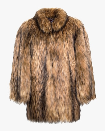 House of Fluff Natural Yeti Faux Fur Cape Coat 1