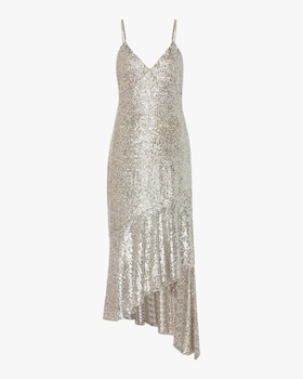 Asymmetric Sequin Midi Dress
