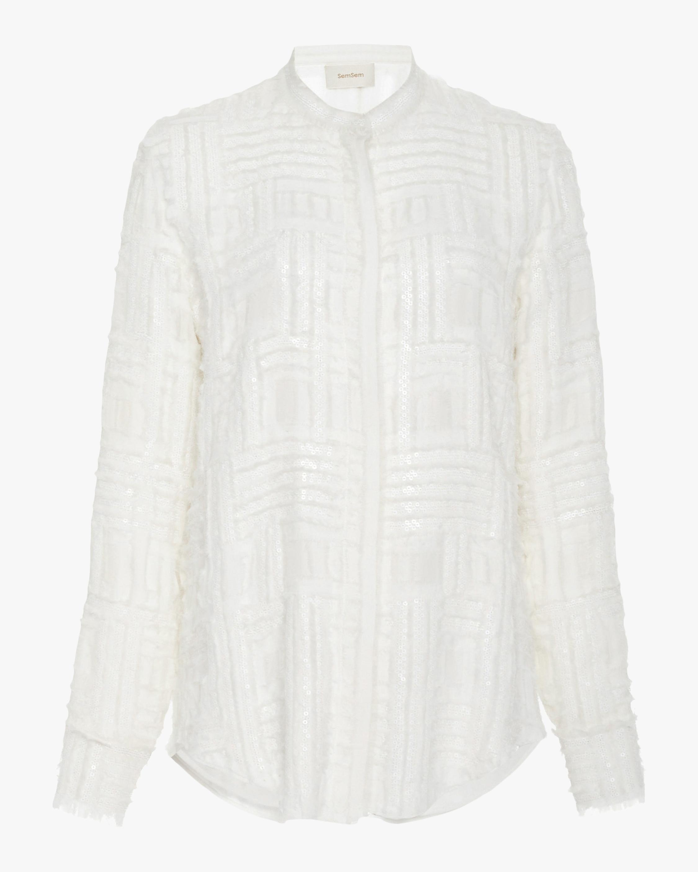 SemSem Frayed Sequin-Embellished Silk Chiffon Top 1
