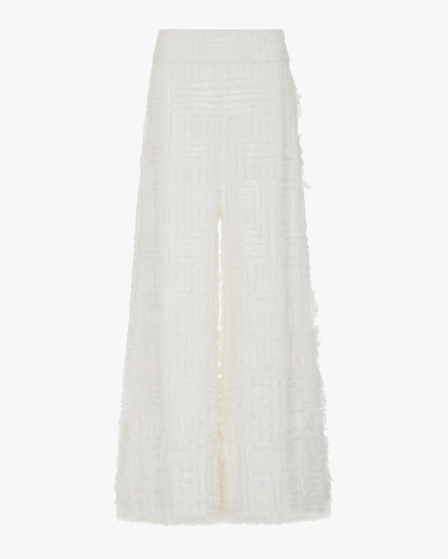 SemSem Embroidered Sequin-Embellished Wide-Leg Pants 1