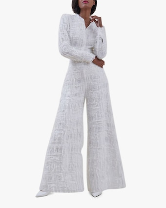 SemSem Embroidered Sequin-Embellished Wide-Leg Pants 2