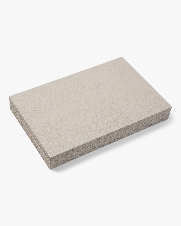 Aurosi Cream Fax Shagreen Lacquer Backgammon Set 2