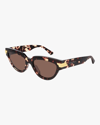 Bottega Veneta Spotted Havana Oval Sunglasses 1