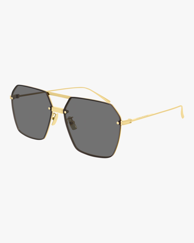 Bottega Veneta Gold Navigator Sunglasses 2