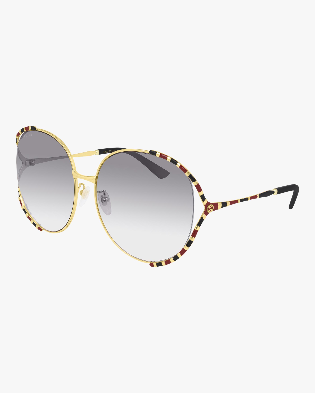 Gucci Goldtone Round Sunglasses 2