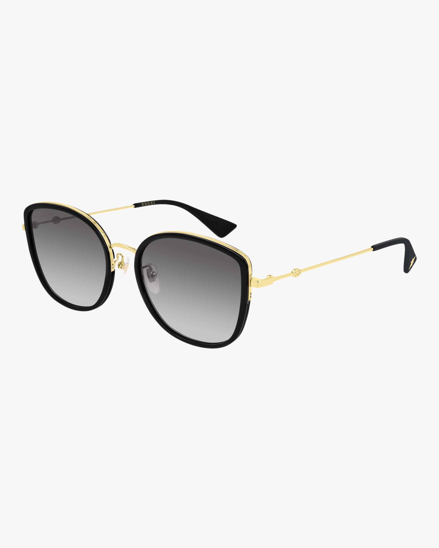 Gucci Gold & Black Square Sunglasses 2