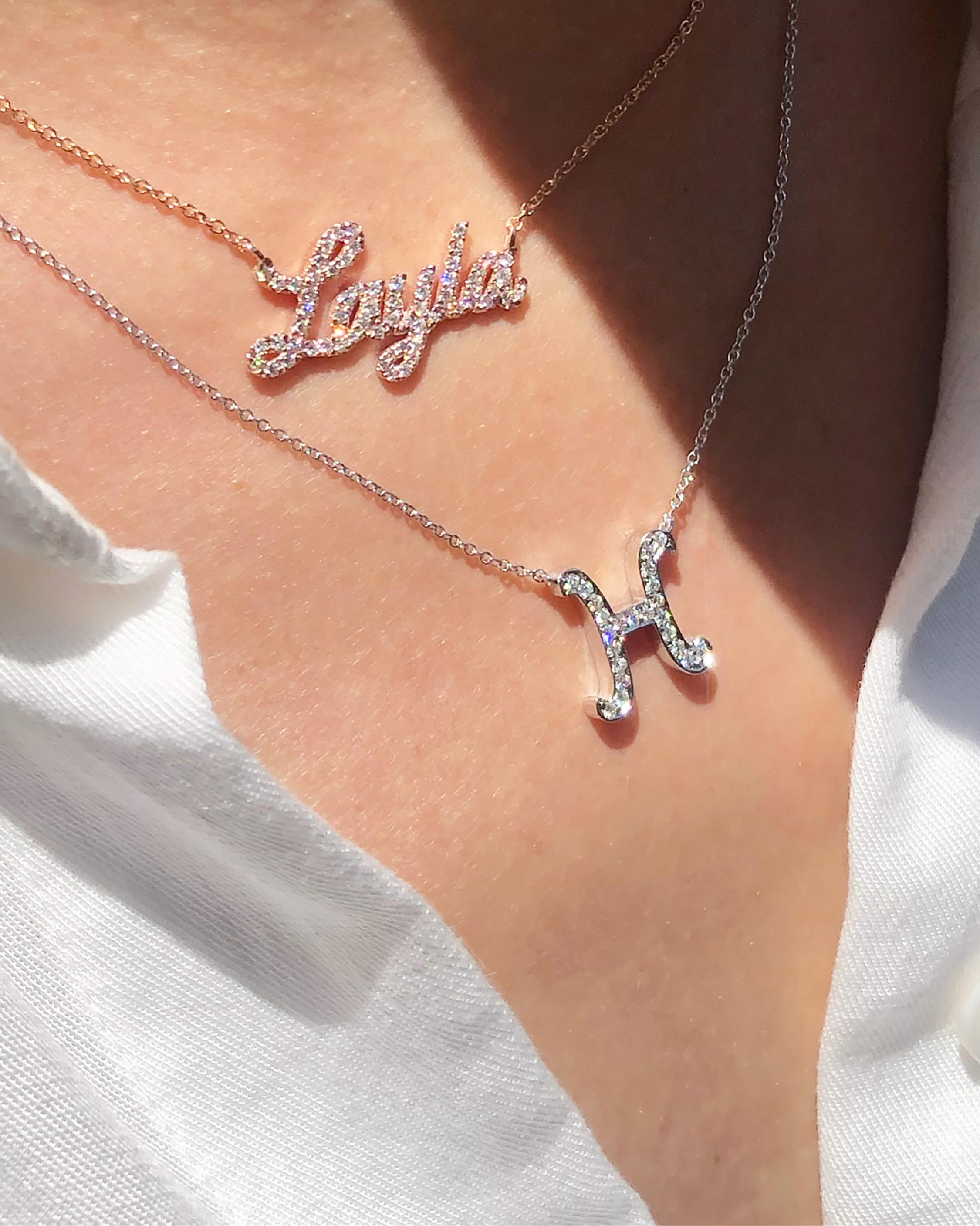 Chérut Large Diamond Initial Necklace 1
