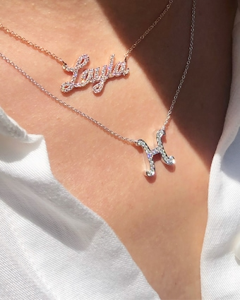 Chérut Large Diamond Initial Necklace 2