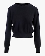 Naadam Long-Sleeve Cropped Cashmere Pullover 0