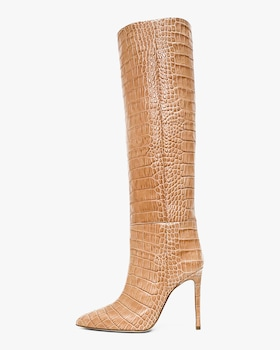 Croc-Embossed Leather Boot
