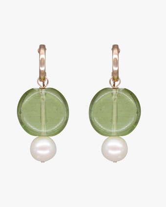 NST Studio Green Glass & Pearl Hoop Earrings 1
