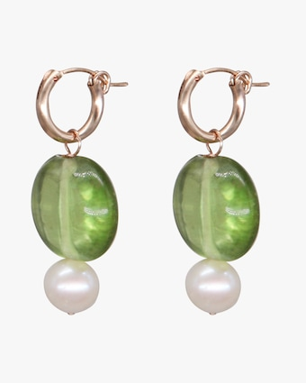 NST Studio Green Glass & Pearl Hoop Earrings 2