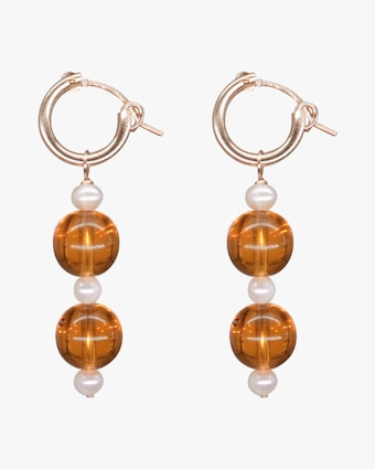 NST Studio Honey Glass & Pearl Hoop Earrings 1