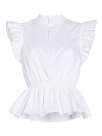 Cotton Poplin Ruffle Sleeve Top