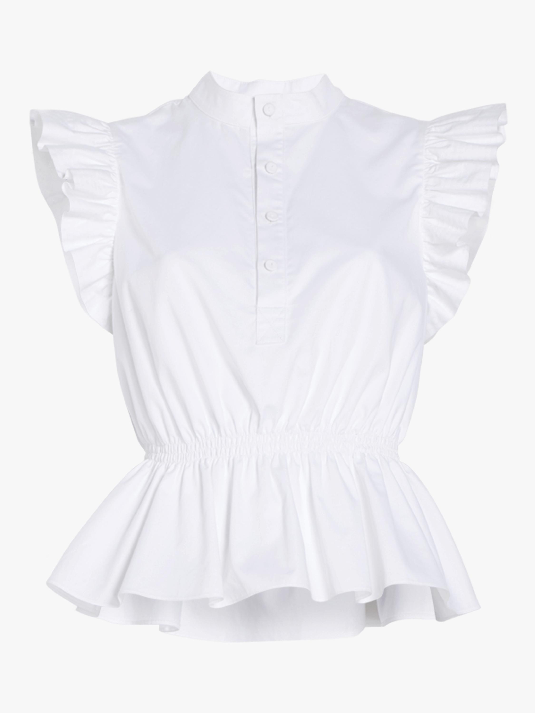 Cotton Poplin Ruffle Sleeve Top
