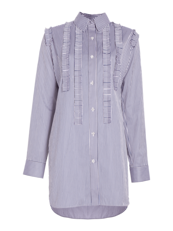 Striped Cotton Ruffled Tunic