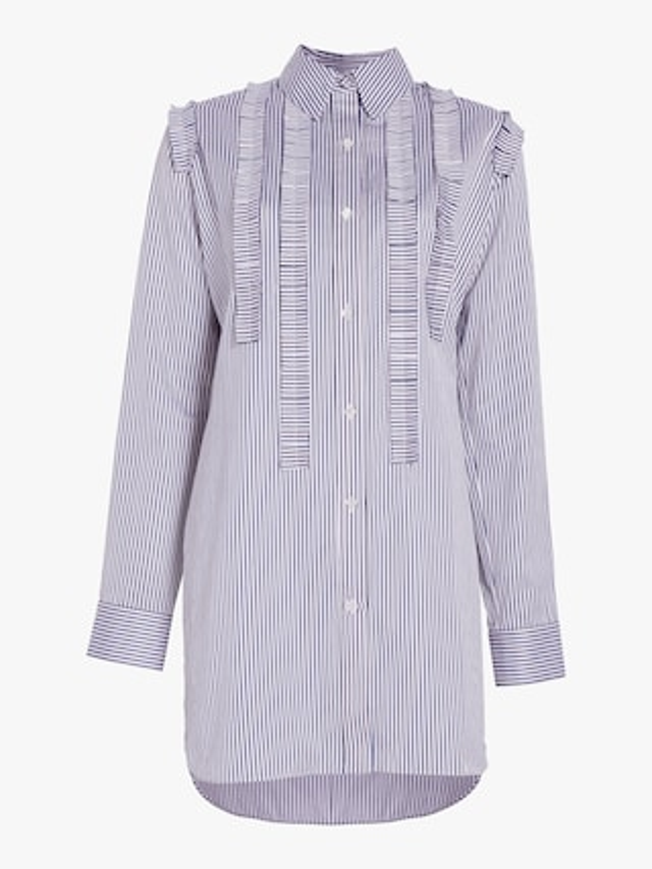 Striped Cotton Ruffled Tunic