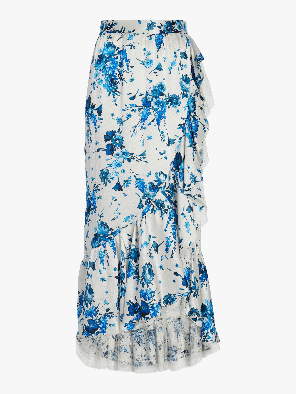 Floral Hammered Silk Skirt