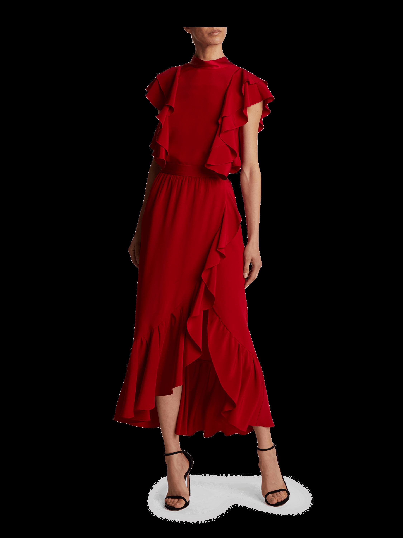 Silk Crepe Ruffle Cascade Skirt