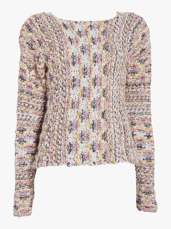 Handknit Tweed Boatneck Sweater