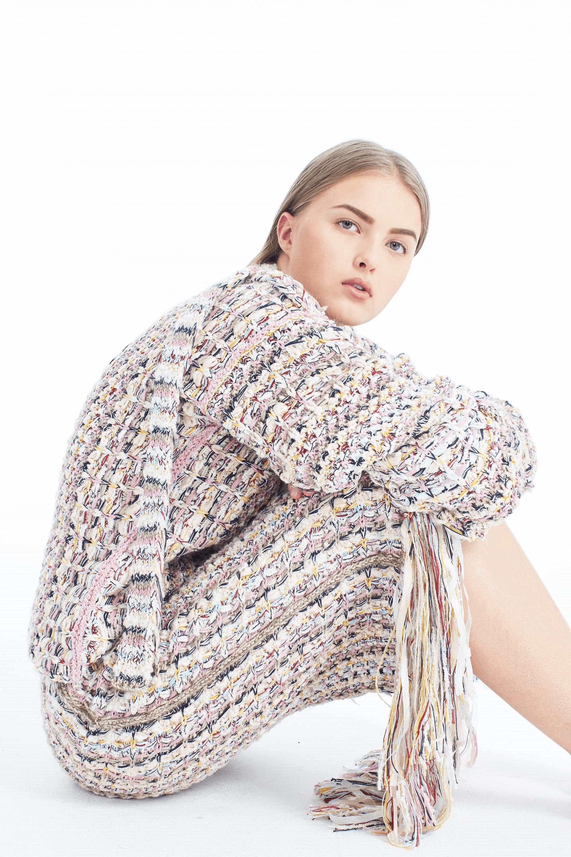Handknit Tweed Midi Skirt