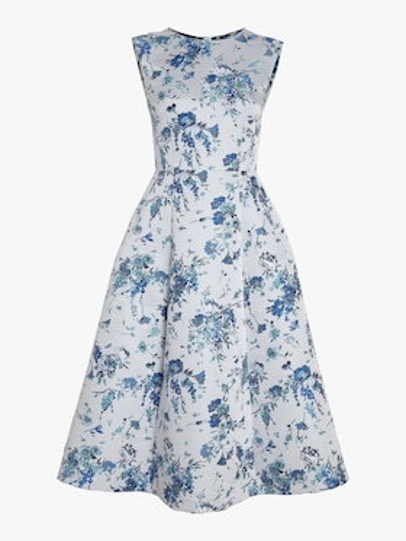 Floral Silk Jacquard Dress
