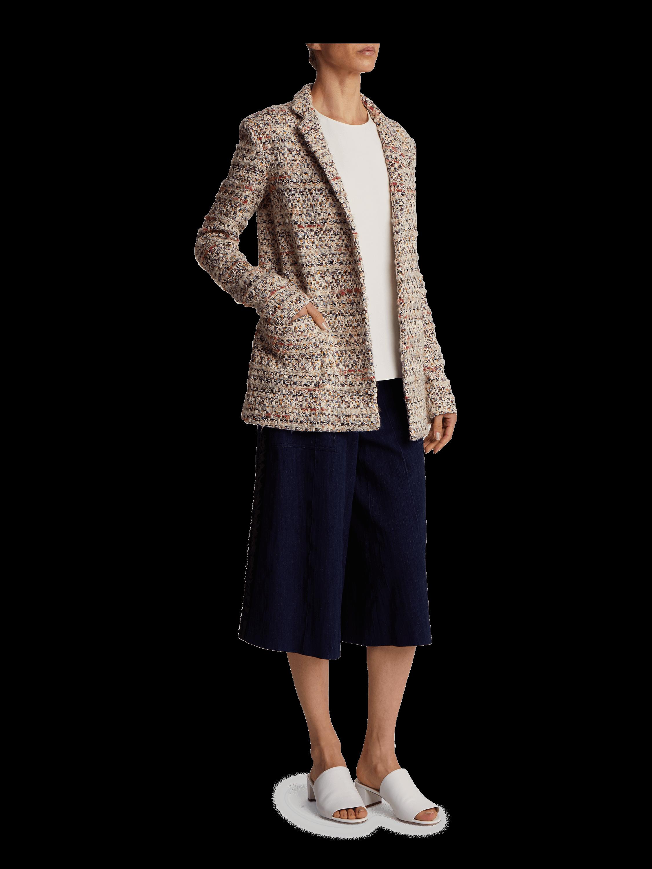 Cotton Tweed Long Blazer