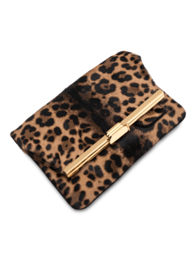 PM Leopard Hair Calf Clutch