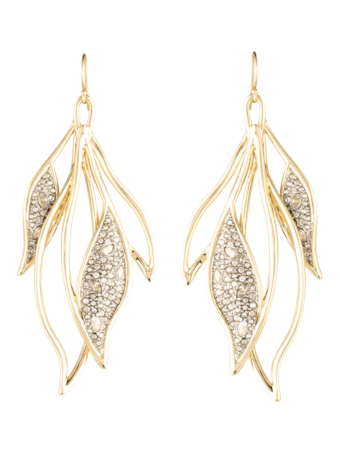 Crystal Feather Wire Earrings