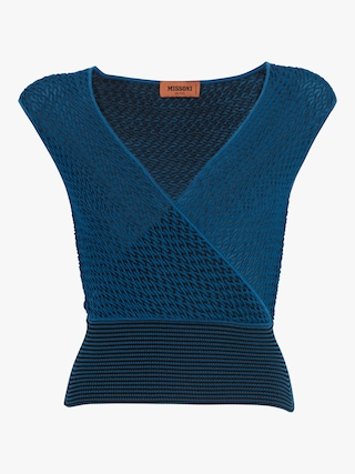 Blue V-Neck Wrap Top