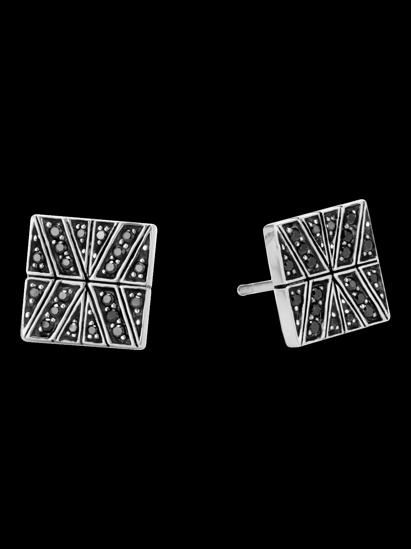 Modern Chain Silver Stud Earrings