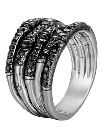 Bamboo Ring with Black Sapphire