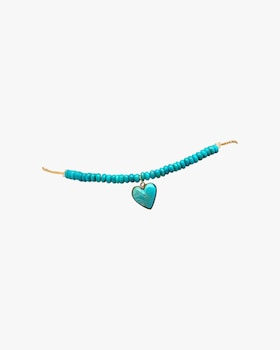 Turqouise Heart Beaded Anklet