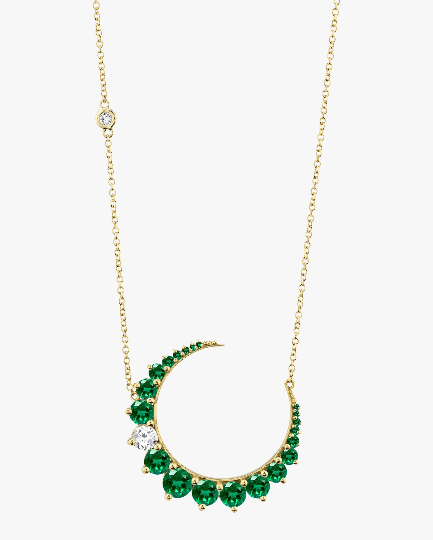 Shay Jewelry Diamond & Emerald Crescent Pendant Necklace 1