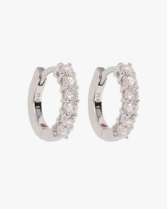 Roberto Coin White Gold & Diamond Single Line Hoop Earrings 1