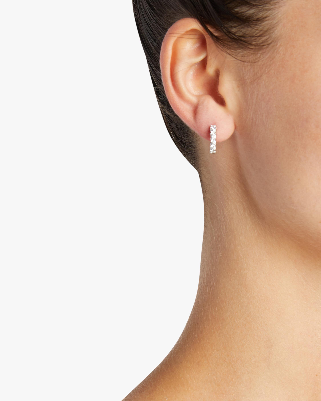 Roberto Coin White Gold & Diamond Single Line Hoop Earrings 2