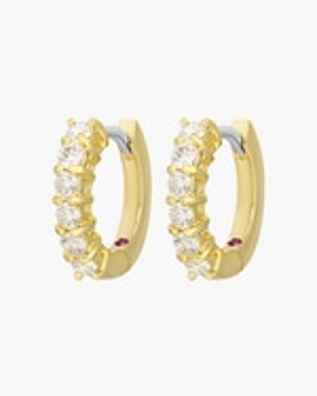 Roberto Coin Diamond Single- Line Hoop Earrings 0