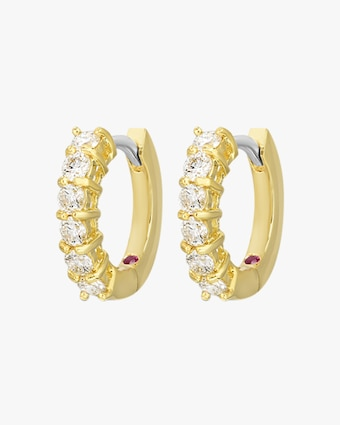 Roberto Coin Yellow Gold & Diamond Single Line Hoop Earrings 1
