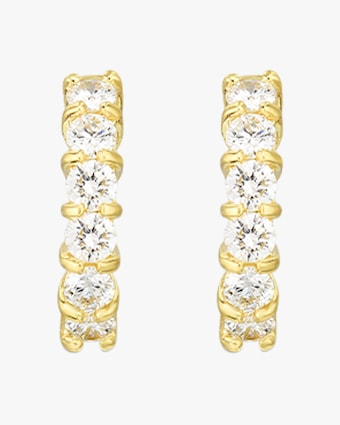 Roberto Coin Yellow Gold & Diamond Single Line Hoop Earrings 2