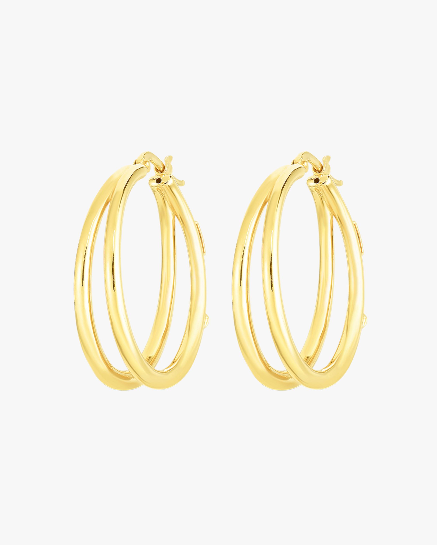 Roberto Coin Oro Classic Double Hoop Earrings 1