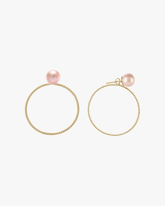 Penelope Jewelry Pink Freshwater Pearl Hoop Earrings 1