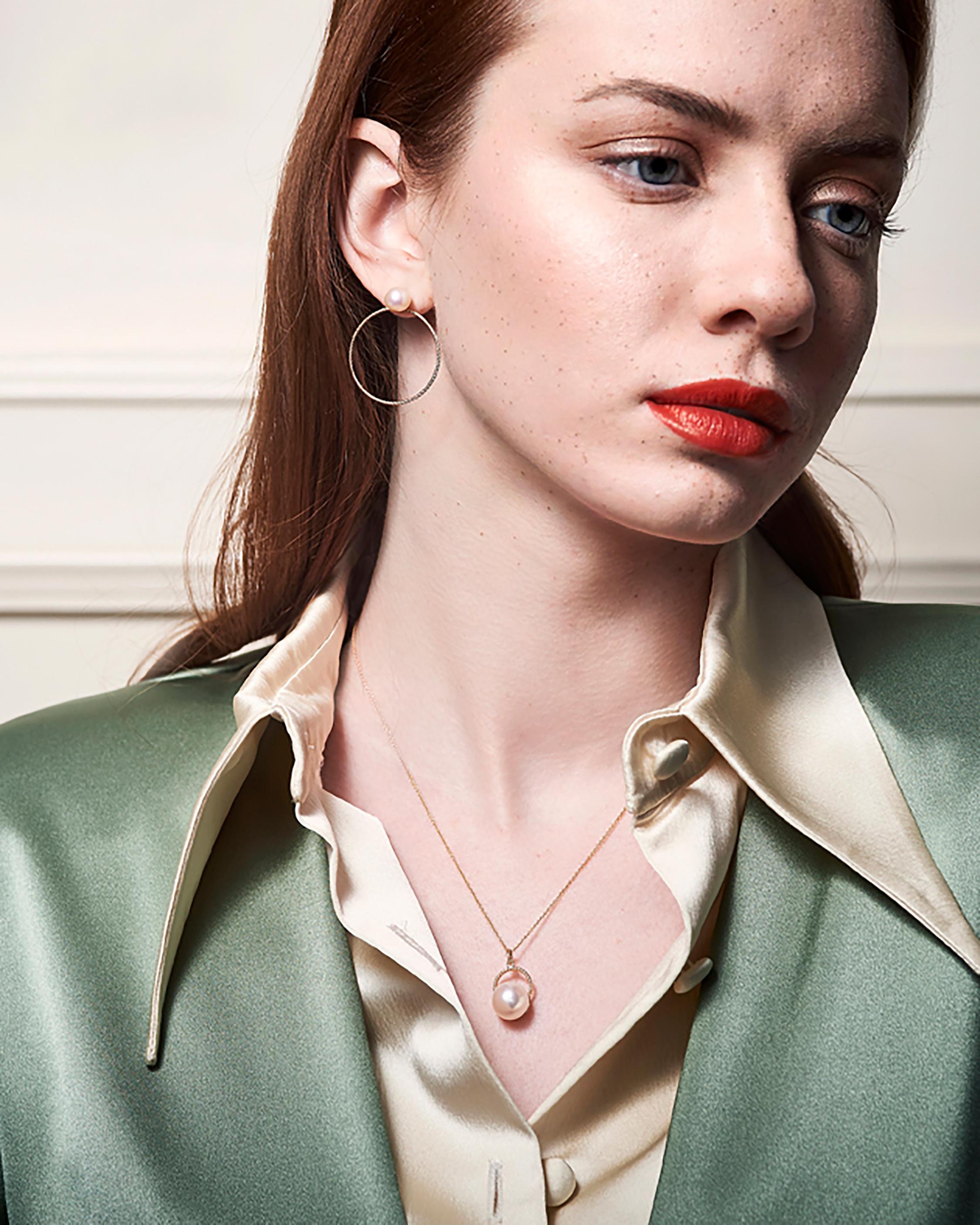 Penelope Jewelry Pink Freshwater Pearl Hoop Earrings 2