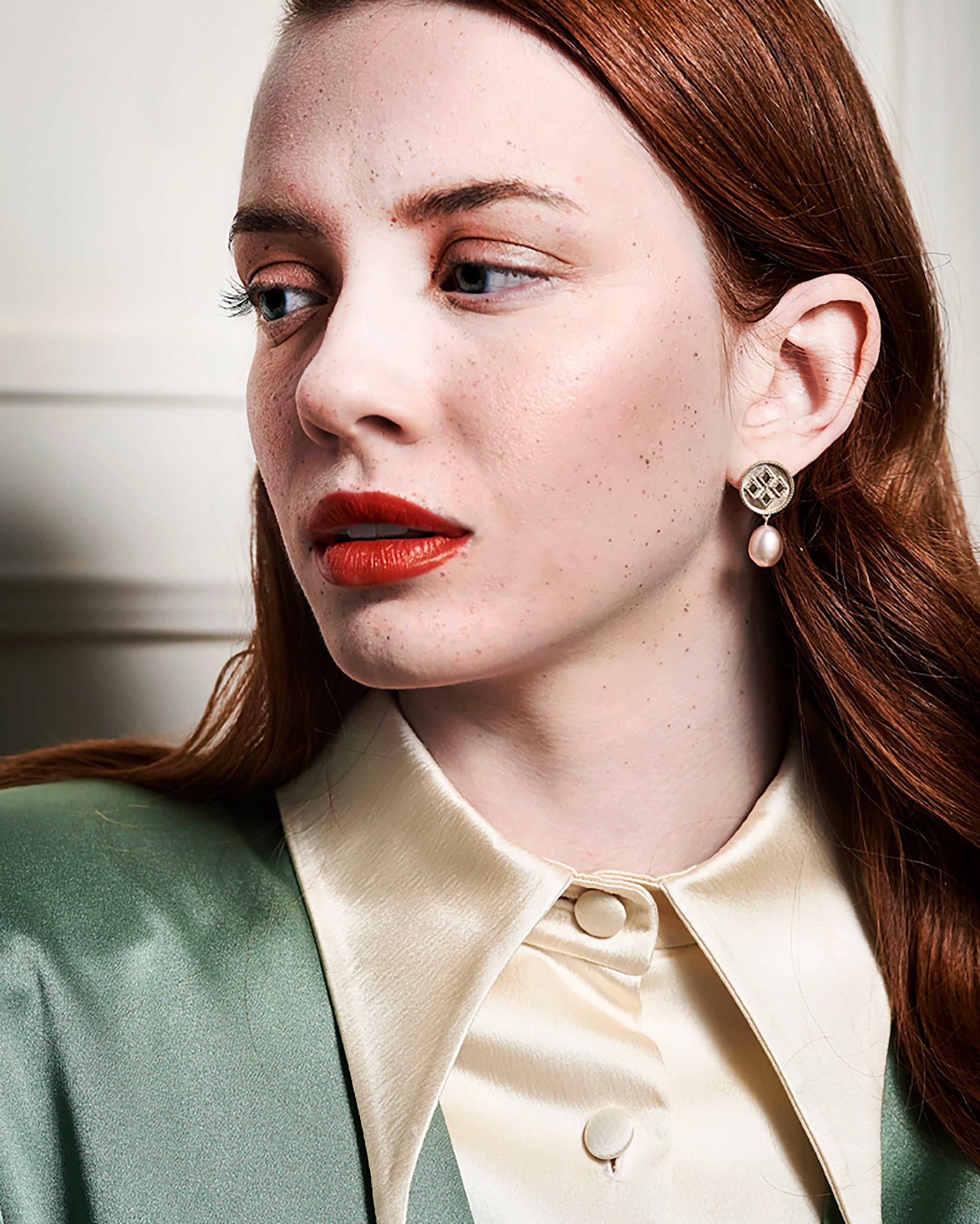 Penelope Jewelry Pink Baroque Pearl Drop Earrings 1