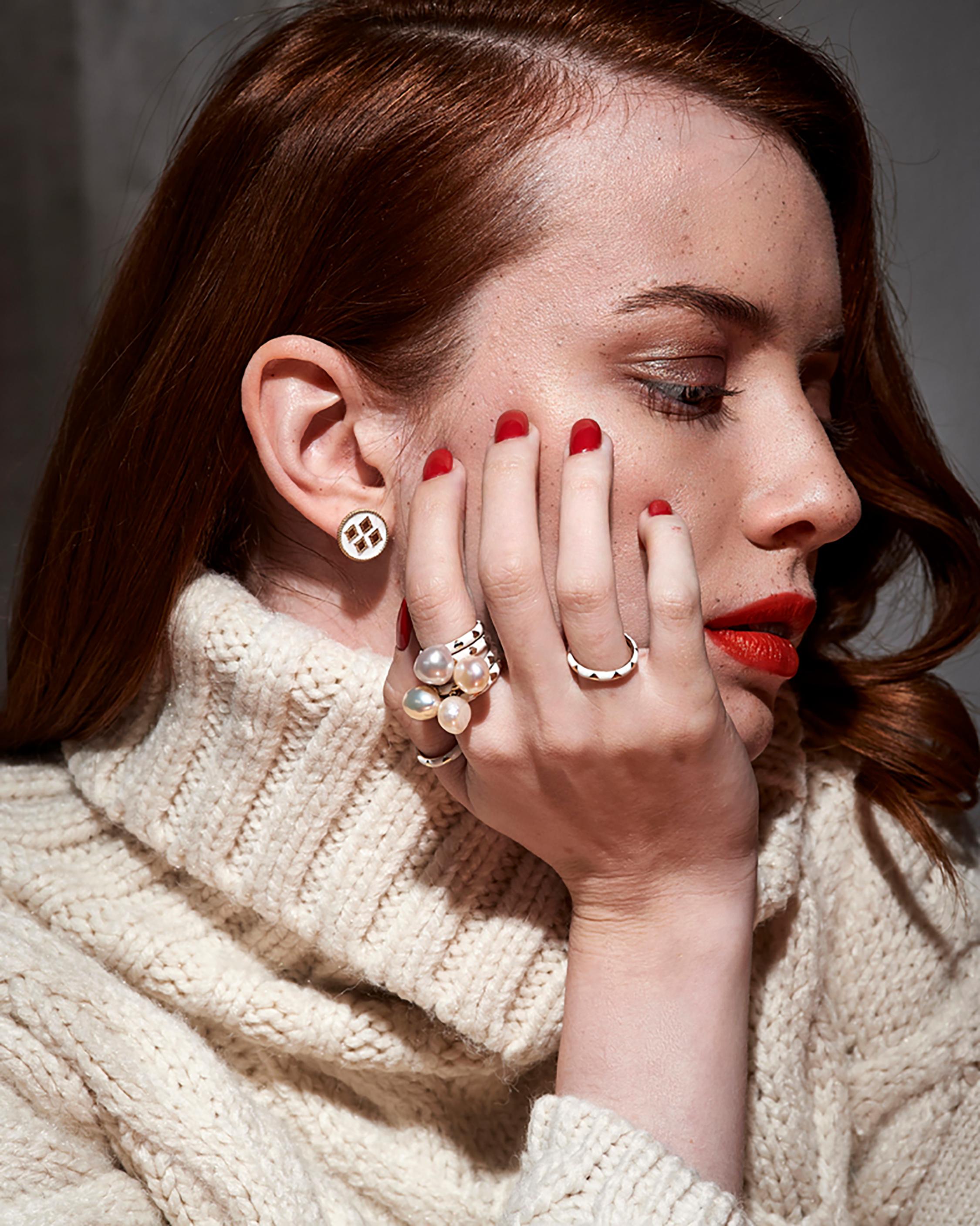 Penelope Jewelry Freshwater Pearl & Enamel Ring 2