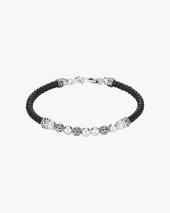 John Hardy Classic Chain Hammered Leather-Strap Bracelet 1