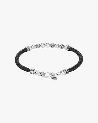 John Hardy Classic Chain Hammered Leather-Strap Bracelet 2