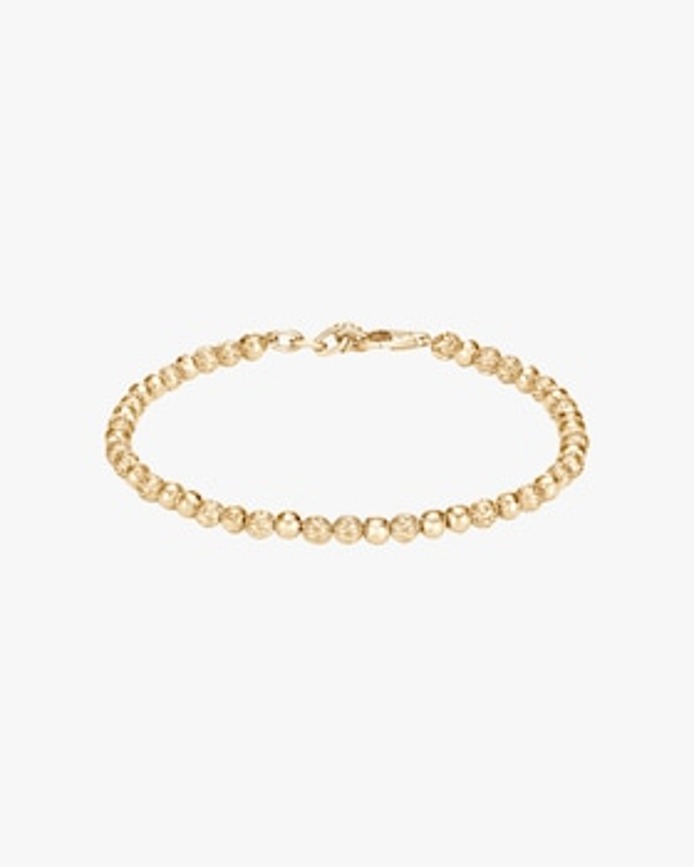 Classic Chain Hammered 18K Gold Bead Bracelet