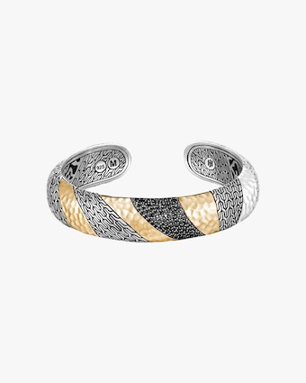 John Hardy Classic Chain Hammered Two-Tone Medium Kick Cuff 1